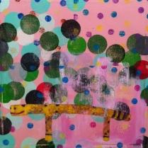 Cheetah Rail Acrylic on Canvas, 22 x 22 ©2013 Kyle Labinsky