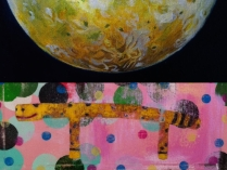 merge of works by Amber MacGregor and Kyle Labinsky 2014 Poster for co-show in October 2014 entitled Gumball Satellite © 2014 Kyle Labinsky and Amber MacGregor