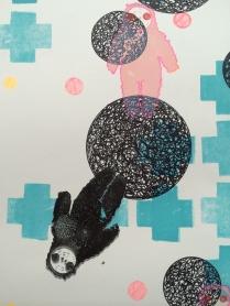 Process Photo for Winnipeg Alien #3 (detail) Ink on Paper 2014 ©2014 Kyle Labinsky