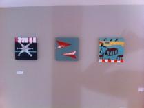 Installation view of three small paintings. ©2014 Kyle Labinsky